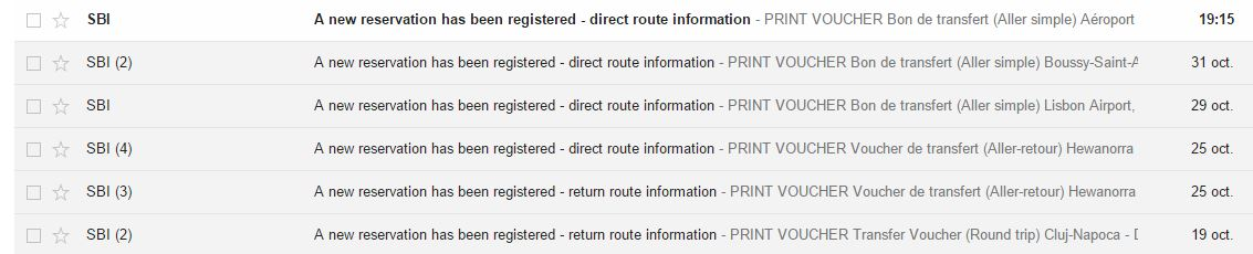 E-mail confirmation of reservations booked for your routes